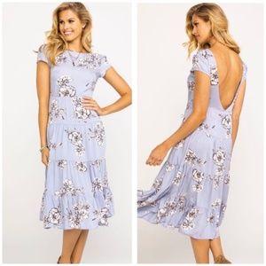 Free People Rita Tiered Floral Blue Midi Dress XS